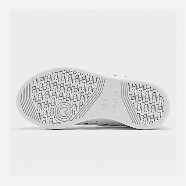Bottom view of Little Kids' adidas Originals Continental 80 Casual Shoes in White/Black/Grey Mixtape
