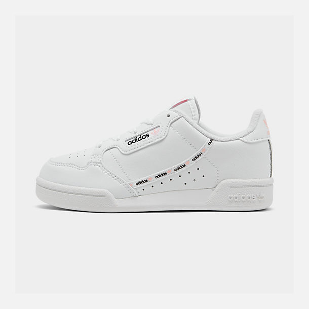 Right view of Girls' Little Kids' adidas Continental 80 Casual Shoes in White