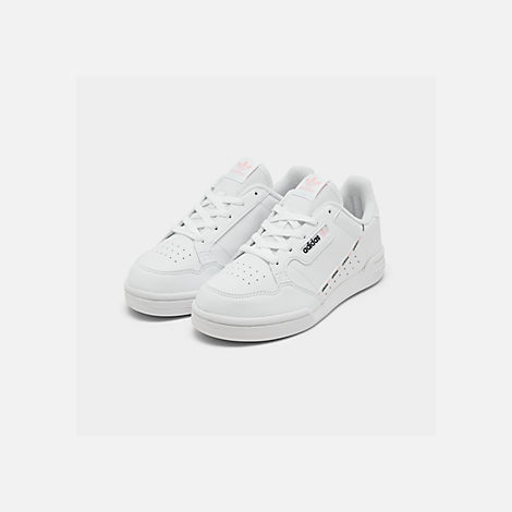 Three Quarter view of Girls' Little Kids' adidas Continental 80 Casual Shoes in White