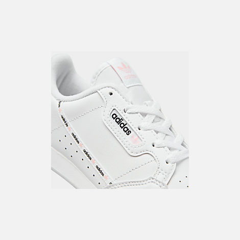 Front view of Girls' Little Kids' adidas Continental 80 Casual Shoes in White