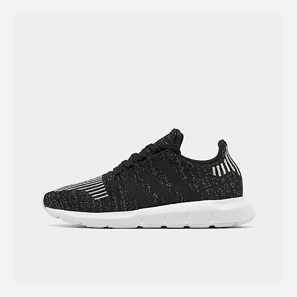 Right view of Women's adidas Swift Run Casual Shoes in Core Black/Silver Metallic/Footwear White