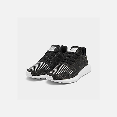 Three Quarter view of Women's adidas Swift Run Casual Shoes in Core Black/Silver Metallic/Footwear White