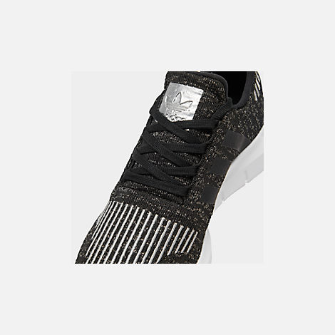 Front view of Women's adidas Swift Run Casual Shoes in Core Black/Silver Metallic/Footwear White