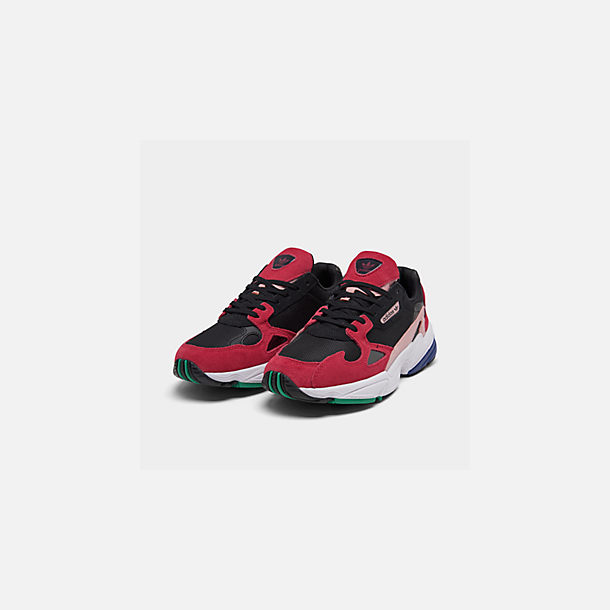 Three Quarter view of Women's adidas Originals Falcon Casual Shoes in Black/Energy Pink/White