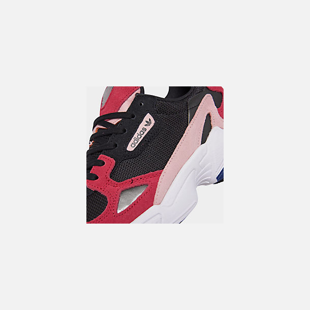 Front view of Women's adidas Originals Falcon Casual Shoes in Black/Energy Pink/White