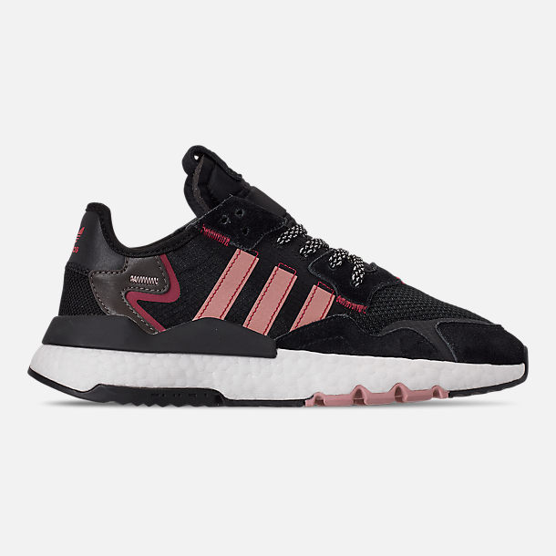 Right view of Women's adidas Originals Nite Jogger Casual Shoes in Black/Pink Spirit/Black