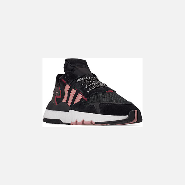 Three Quarter view of Women's adidas Originals Nite Jogger Casual Shoes in Black/Pink Spirit/Black