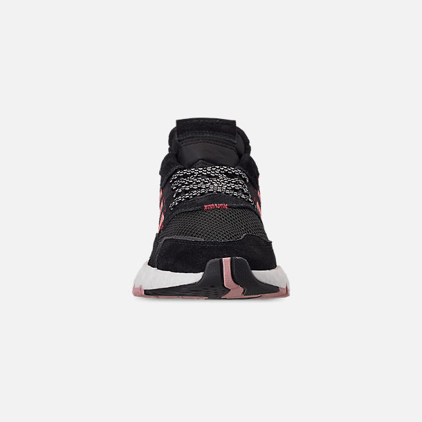 Front view of Women's adidas Originals Nite Jogger Casual Shoes in Black/Pink Spirit/Black