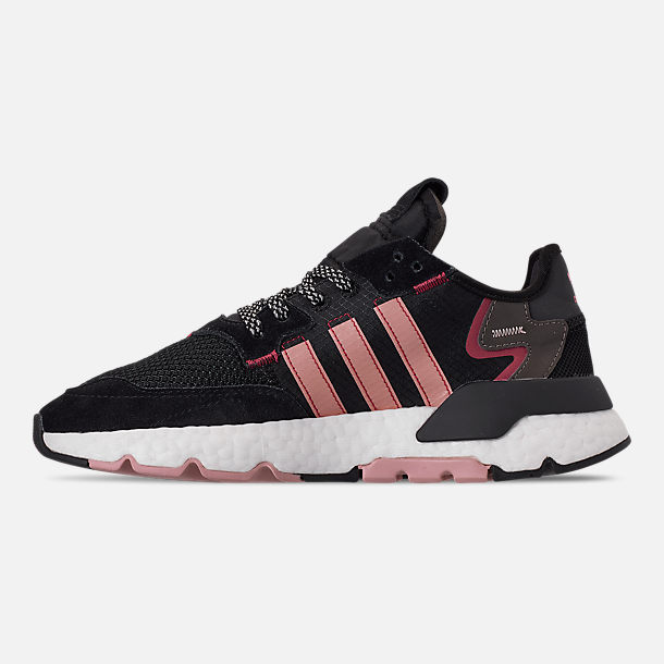 Left view of Women's adidas Originals Nite Jogger Casual Shoes in Black/Pink Spirit/Black
