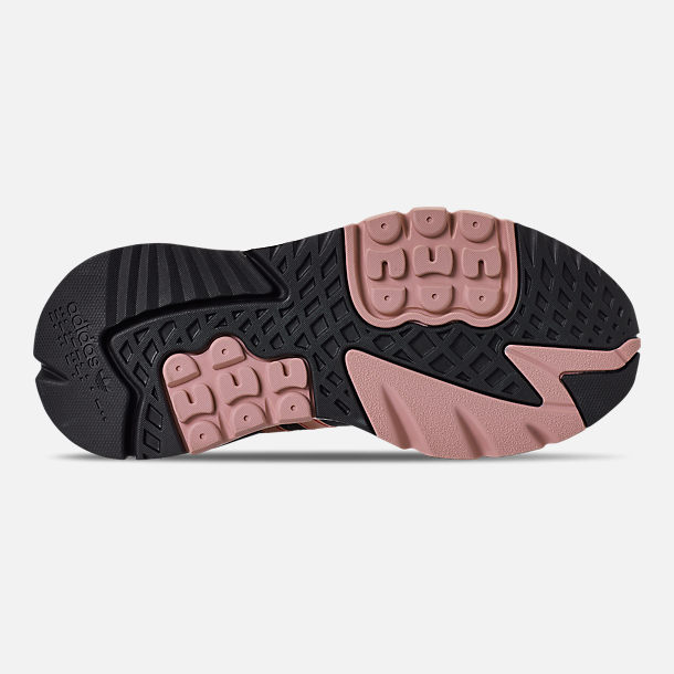 Bottom view of Women's adidas Originals Nite Jogger Casual Shoes in Black/Pink Spirit/Black