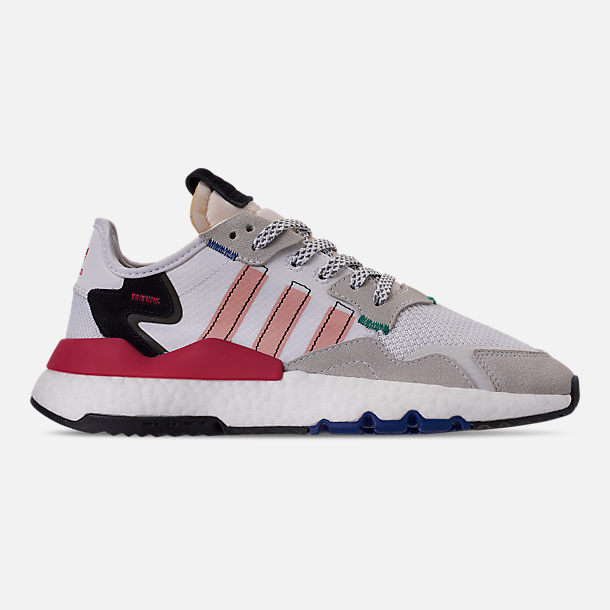 Right view of Women's adidas Originals Nite Jogger Casual Shoes in White/Pink Spirit/Energy Pink