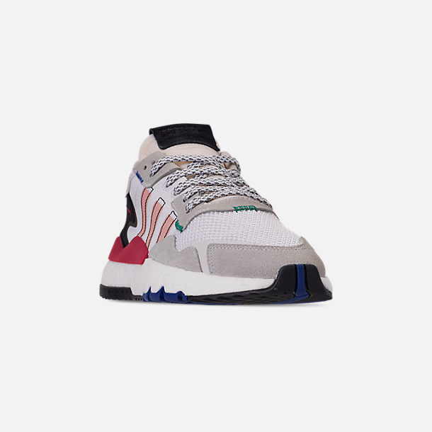 Three Quarter view of Women's adidas Originals Nite Jogger Casual Shoes in White/Pink Spirit/Energy Pink