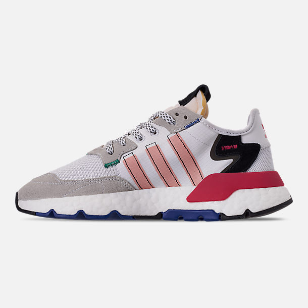 Left view of Women's adidas Originals Nite Jogger Casual Shoes in White/Pink Spirit/Energy Pink