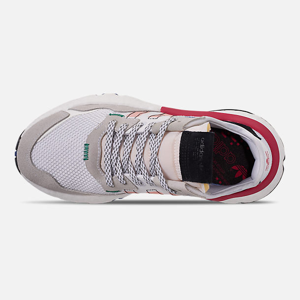 Top view of Women's adidas Originals Nite Jogger Casual Shoes in White/Pink Spirit/Energy Pink