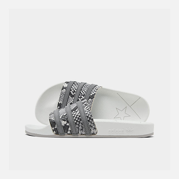 Right view of Men's adidas Adilette Slide Sandals in Crystal White/Grey Four/Grey Two