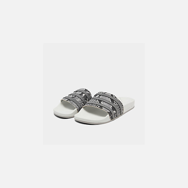 Three Quarter view of Men's adidas Adilette Slide Sandals in Crystal White/Grey Four/Grey Two