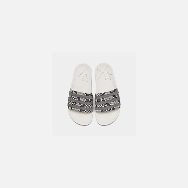 Back view of Men's adidas Adilette Slide Sandals in Crystal White/Grey Four/Grey Two