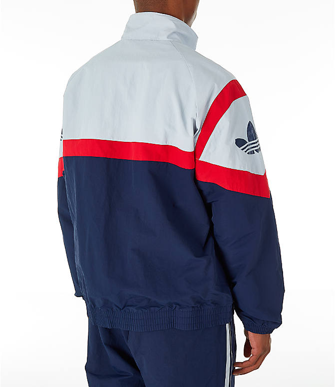 Back Right view of Men's adidas Originals Sportivo Track Jacket in Collegiate Navy/White/Red