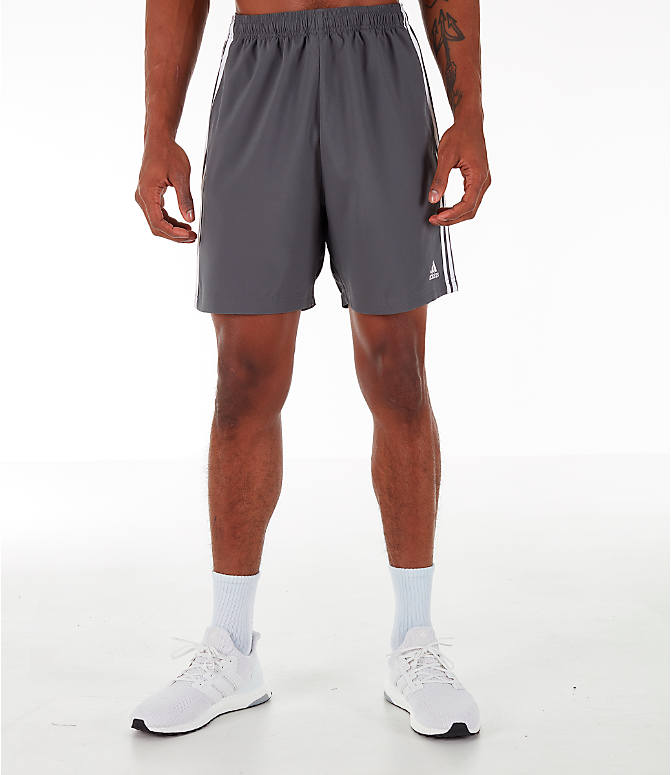 Front Three Quarter view of Men's adidas 3-Stripes Woven Shorts in Grey