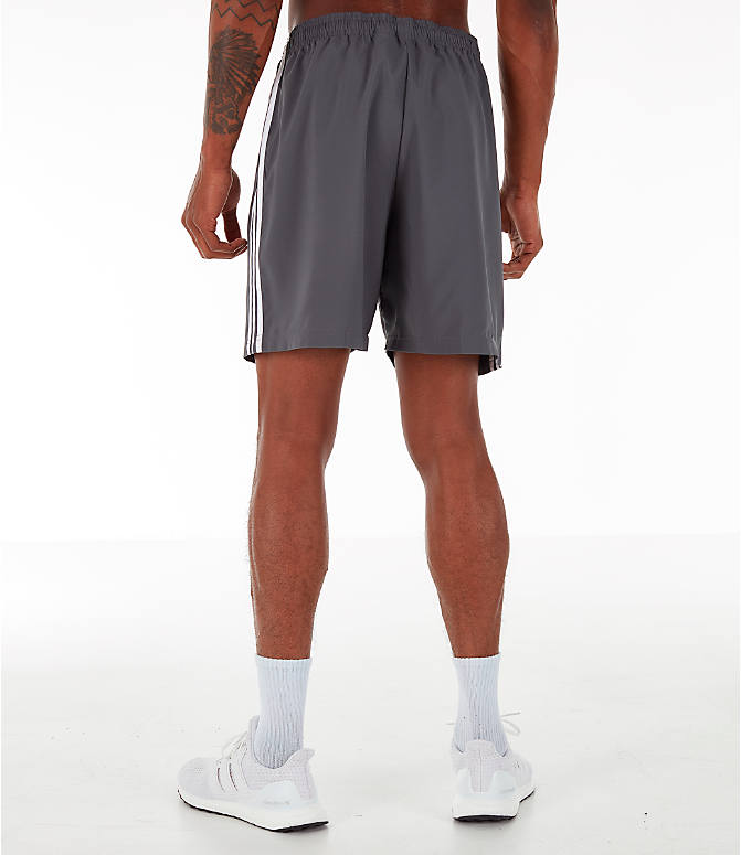 Back Left view of Men's adidas 3-Stripes Woven Shorts in Grey