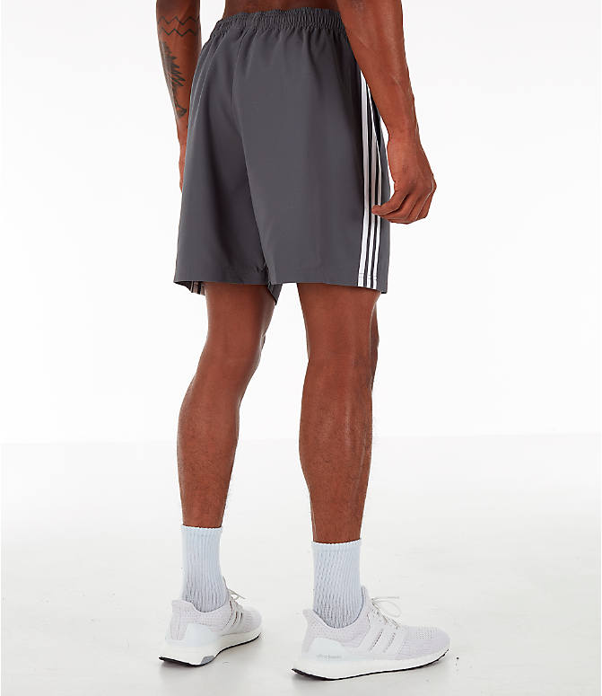 Back Right view of Men's adidas 3-Stripes Woven Shorts in Grey