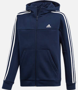 Boys' adidas Soccer 3-Stripes Full-Zip Hoodie