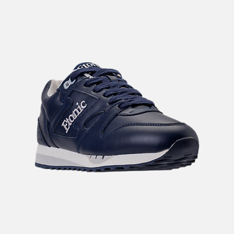 Three Quarter view of Men's Etonic Trans Am Leather Casual Shoes in Navy/White/Grey