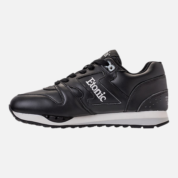 Left view of Men's Etonic Trans Am Leather Casual Shoes in Black/White/Grey