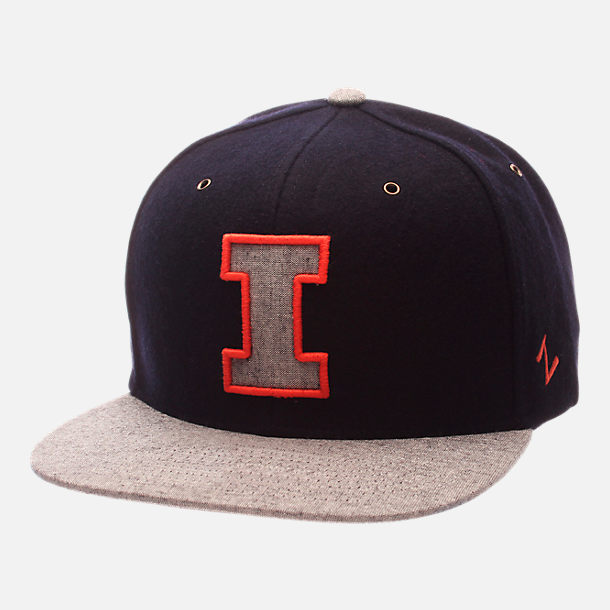 Front view of Zephyr Illinois Fighting Illini College Executive Snapback Hat in Team Colors/Grey
