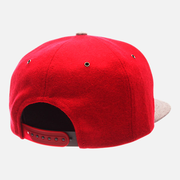 Back view of Zephyr Nebraska Cornhuskers College Executive Snapback Hat in Team Colors/Grey