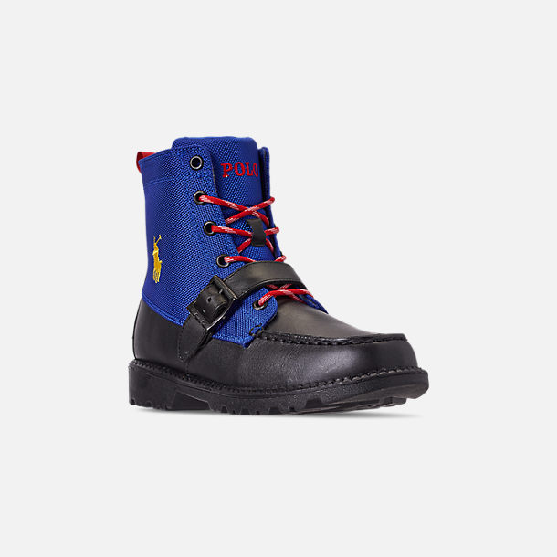 Three Quarter view of Boys' Little Kids' Polo Ralph Lauren Ranger Hi II Boots in Black/Royal