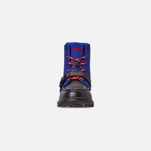 Front view of Boys' Little Kids' Polo Ralph Lauren Ranger Hi II Boots in Black/Royal