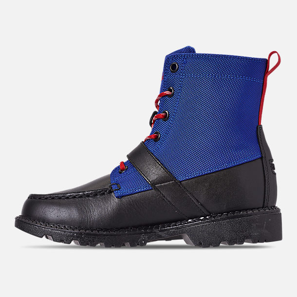 Left view of Boys' Little Kids' Polo Ralph Lauren Ranger Hi II Boots in Black/Royal