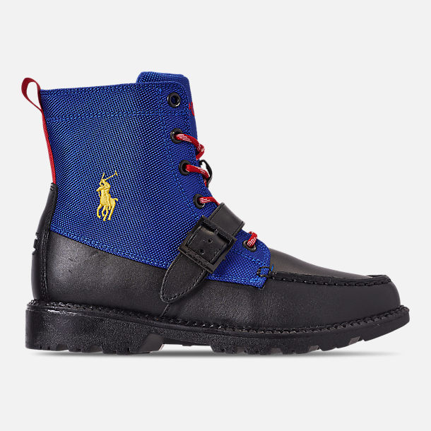Right view of Boys' Big Kids' Polo Ralph Lauren Ranger Hi II Boots in Black/Royal