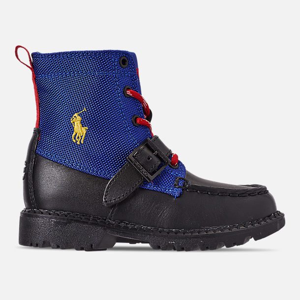 Right view of Boys' Toddler Polo Ralph Lauren Ranger Hi II Boots in Black/Royal