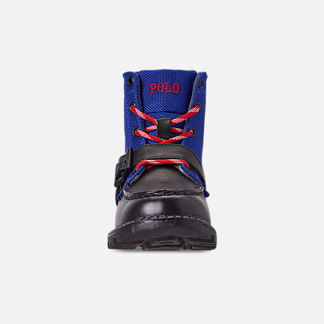 Front view of Boys' Toddler Polo Ralph Lauren Ranger Hi II Boots in Black/Royal