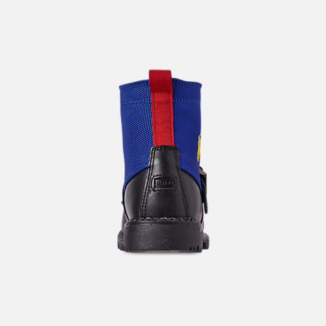 Back view of Boys' Toddler Polo Ralph Lauren Ranger Hi II Boots in Black/Royal