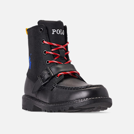 Three Quarter view of Boys' Little Kids' Polo Ralph Lauren Ranger Hi II Boots in Black
