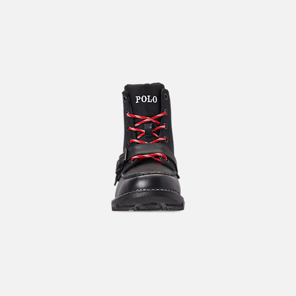 Front view of Boys' Little Kids' Polo Ralph Lauren Ranger Hi II Boots in Black