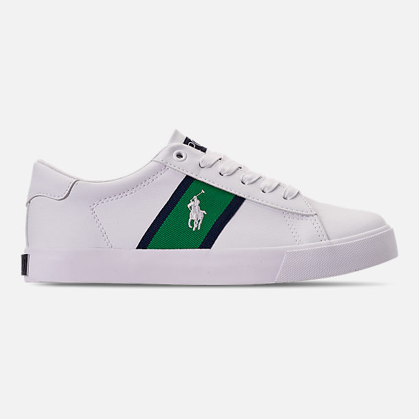 Right view of Boys' Big Kids' Polo Ralph Lauren Geoff Casual Shoes in White/Green/Navy