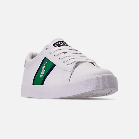 Three Quarter view of Boys' Big Kids' Polo Ralph Lauren Geoff Casual Shoes in White/Green/Navy