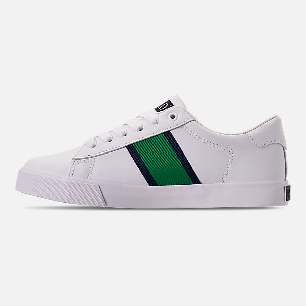 Left view of Boys' Big Kids' Polo Ralph Lauren Geoff Casual Shoes in White/Green/Navy