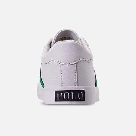 Back view of Boys' Big Kids' Polo Ralph Lauren Geoff Casual Shoes in White/Green/Navy