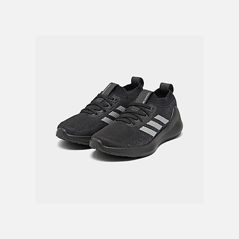 Three Quarter view of Boys' Big Kids' adidas PureBounce+ Running Shoes in Core Black/Silver Metallic/Carbon
