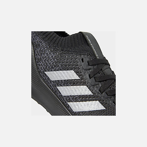 Front view of Boys' Big Kids' adidas PureBounce+ Running Shoes in Core Black/Silver Metallic/Carbon