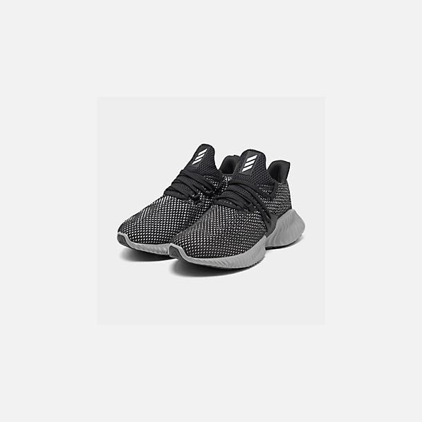 Three Quarter view of Boys' Big Kids' adidas AlphaBounce Instinct Running Shoes in Core Black/Footwear White/Grey Three