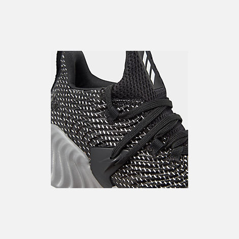Front view of Boys' Big Kids' adidas AlphaBounce Instinct Running Shoes in Core Black/Footwear White/Grey Three