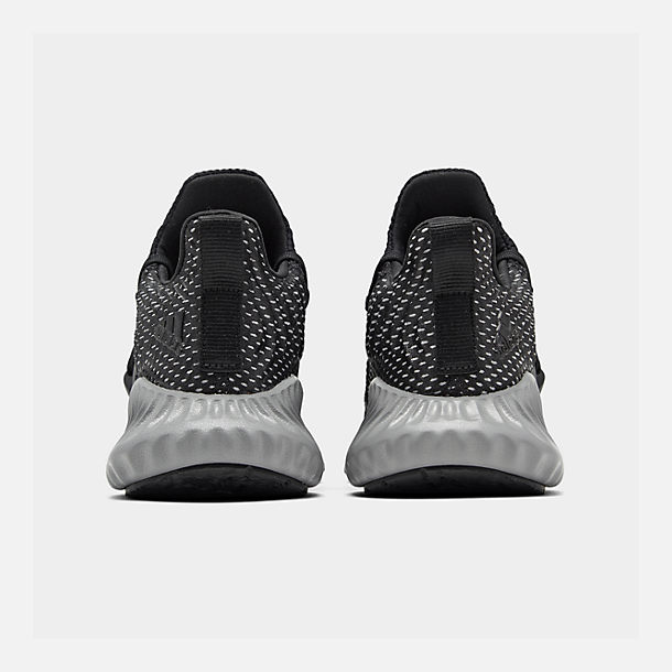 Left view of Boys' Big Kids' adidas AlphaBounce Instinct Running Shoes in Core Black/Footwear White/Grey Three