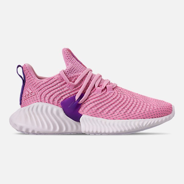 Right view of Girls' Big Kids' adidas AlphaBounce Instinct Running Shoes in True Pink/Active Purple/Cloud White