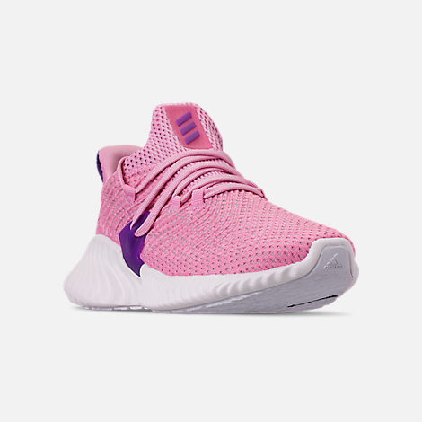 Three Quarter view of Girls' Big Kids' adidas AlphaBounce Instinct Running Shoes in True Pink/Active Purple/Cloud White